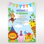 Blue Zoo Party I - 1st Birthday Invitations - 28