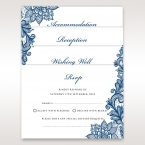 White matte stationery cards digitally printed in black ink, with flowing blue floral border design