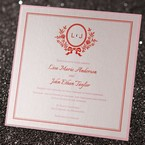 Square wedding invitation with red and pink text and pink backing layer, digitally printed, jeweled