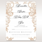 Digitally printed black ink letters on a matte white set of matching stationeries with golden floral borders