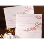 Pink spring flower designed digital printed card with pocket