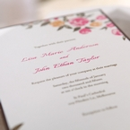 digitally printed white insert with pink and brown text and designed with pink and yellow flowers