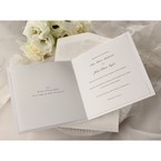 White card style wedding invitation, opened, black printing with envelope