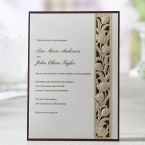 Embossed side detail, ecru flower swirls, flat layered card with brown border