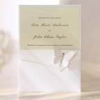 White classical garden themed invite with hand assembled jeweled butterfly design and cream color inner card