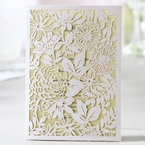 Rectangular white laser cut garden inspired wedding invitation, beige  inner card