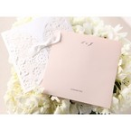 Personalised monogram; pink inner paper; wedding invitation