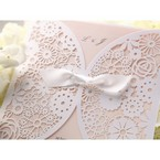 Pocket pink laser cut wedding invitation