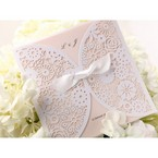 Cropped; laser cut pocket floral wedding invitation; light pink inner card