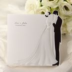 Black and white trifold wedding invitation, bride and groom embossed design