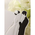Black and white embossed bride and groom detail
