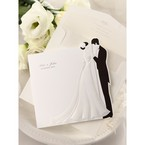 Black and white trifold wedding invitation; bride and groom embossed design with envelope