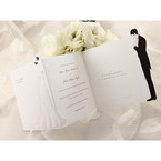 Tri fold bride and groom wedding invitation design; cropped