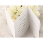Trifold wedding invitation, white inner card , thermography printed , top view