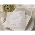 Jeweled sculptured urban flower design, white colored pocket invite with envelope