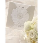 Gated white pocket invitation with white pearl, embossed floral design