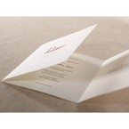 Unfolded three panel wedding invitation in classic white, textured lettering and duck design