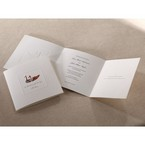 Full view of unfolded tri fold white invitation with embossed duck and frame design
