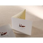 fold type white wedding invitation with duck design plus embossed window frame