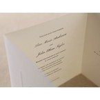 Tri fold wedding invitation feautring themorgraphy printing, silkscreened paper