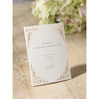 Laser cut edged folded announcement card with laser cut design and vintage line design