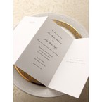 Trifold wedding inner paper, thermographyy print, classic white