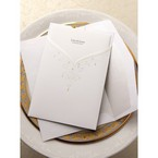 Gold foil accented pocket white invitation with embossed swirl design, white inner card