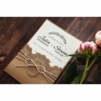 Country Lace Pocket Wedding invitation in Brown PWI115086 1