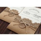Country Lace Pocket Wedding invitation in Brown PWI115086 4