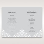 Silver/Gray Jeweled White Lasercut Pocket - Order of Service - Wedding Stationery - 71