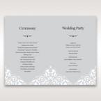Silver/Gray Jeweled White Lasercut Pocket - Order of Service - Wedding Stationery - 71