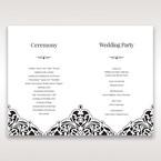White Jeweled Romance Black Lasercut Pocket - Order of Service - Wedding Stationery - 81