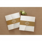 Golden belly band with customisable monogram, wrapped in a lightly textured pocket