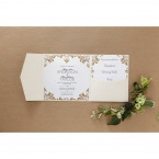 Matte white card with vintage themed golden borders, printed in black ink calligraphic writing