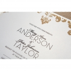 Golden vintage themed border on a pearl card stock, printed with high rise calligraphic letters