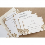 White matte stationery cards, digitally printed in black ink, with golden Victorian themed border