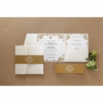 Matte lightly textured pocket invite with golden bordered inner card, black ink print, golden belly band