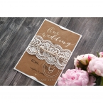 Golden Country Lace With Twine Wedding invitation in Brown PWI115084 1