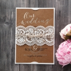 Golden Country Lace With Twine Wedding invitation in Brown PWI115084