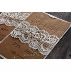 Golden Country Lace With Twine Wedding invitation in Brown PWI115084 3