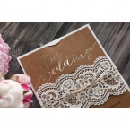 White vintage themed lasercut sleeve bound by twine, enclosing a brown craft card with gold foiled lettering