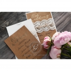 Brown craft card with shiny black raised ink font, gold foiled text, lace patterned lasercut sleeve with twine