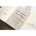 Trifold inner card with wooden theme background colour, printed in black raised ink calligraphic writing, gold foiled flowers