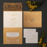 Royal Golden Lace with Pocket - Wedding Invitations - PWI116022-WH-C-7616 - 183888