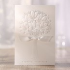 Embossed ribboned flower design folded wedding invite