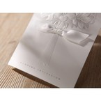 Embossed pure white flower design wedding stationery, cropped