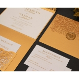 Royal Golden Lace with Pocket - Wedding Invitations - PWI116022-WH-C-7616 - 183889