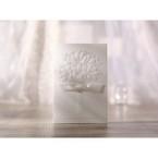 Traditional folded white Emobossed ribboned flower design wedding invitation