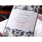 Jewel embellished layered card with slim black backing card and Victorian designs