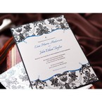 Modern victorian patterned invitation with black and white frame and blue font